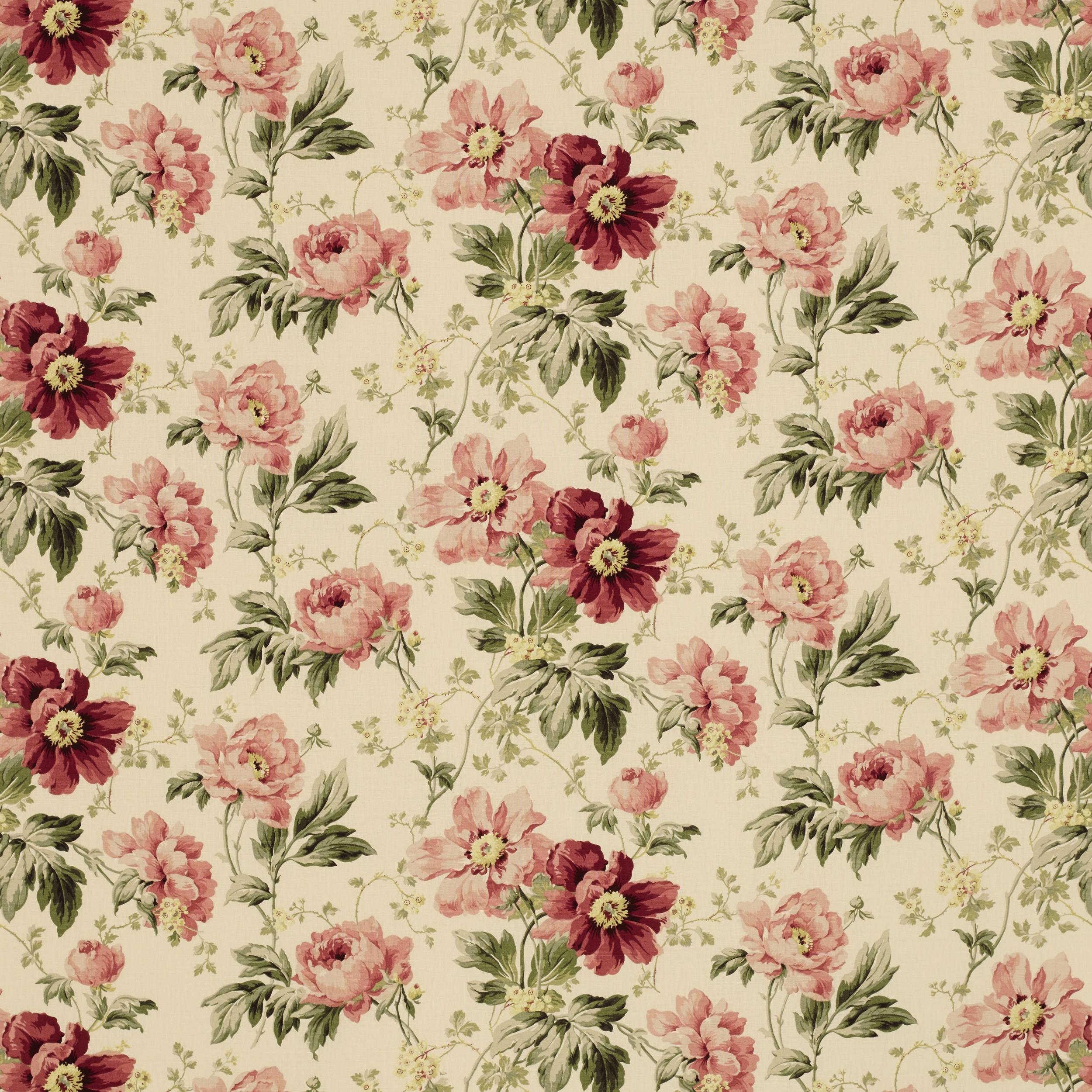 Peony Garden Cranberry Linen Mix Fabric
