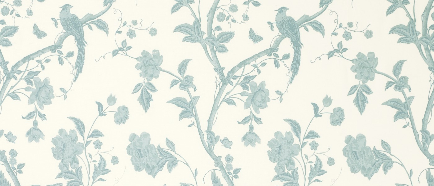 Summer Palace Off White Duck Egg Floral Curtain Fabric