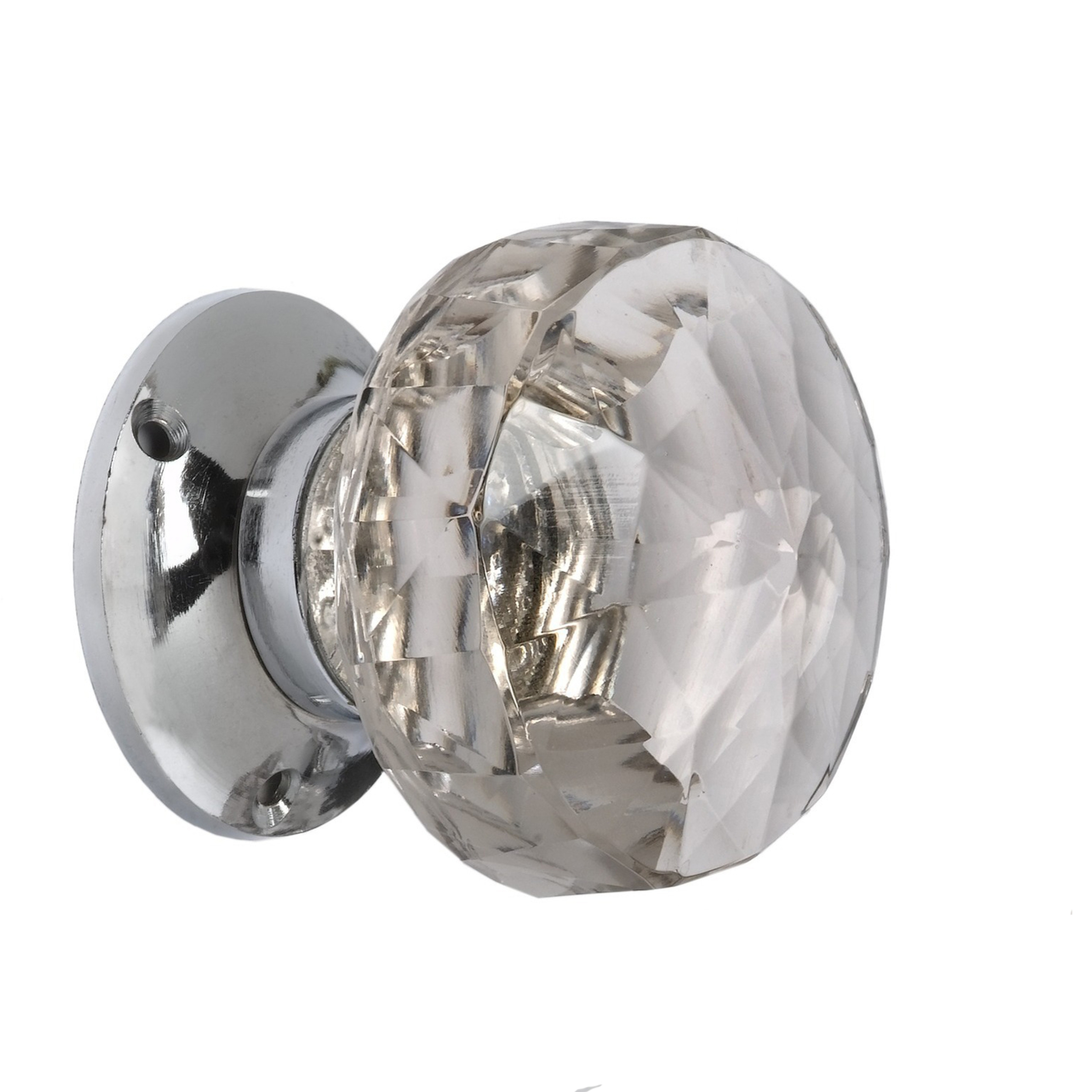 Frances Pair Of Sprung Clear Glass Door Knobs